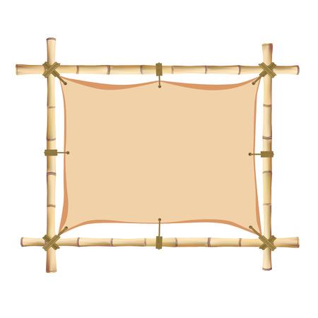 bole: Bamboo frame. Vector illustration isolated on white background
