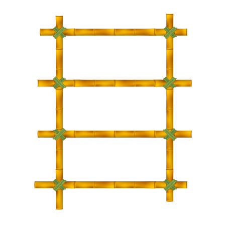 bamboo stick: Wooden frame of old bamboo sticks. Vector illustration