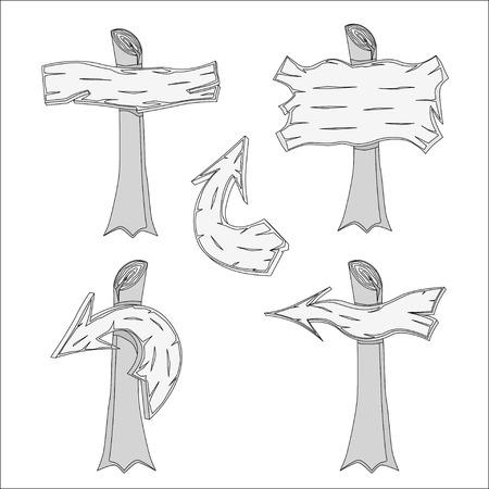 pointer stick: Set di cartelli in legno disegnati a mano. Illustrazione vettoriale. Vettoriali