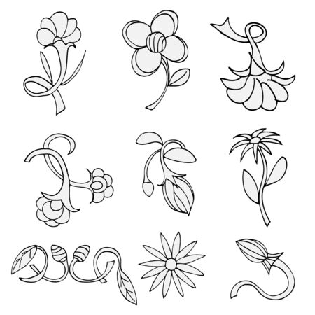 Set of sketches of flowers. Vector isolated on white Vector