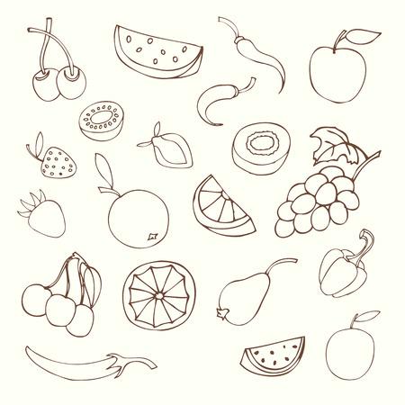fig leaf: set of different fruits isolated on white background Illustration