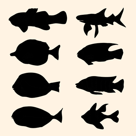 freshwater clown fish: Vector black silhouettes fish set. Icons. Illustration