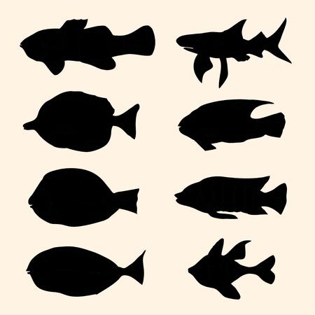sardine: Vector schwarzen Silhouetten Fisch-Set. Icons.