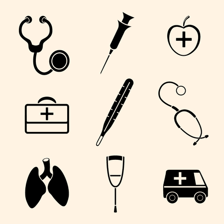 Vector isolated medical icons set. Vector illustration. Vector