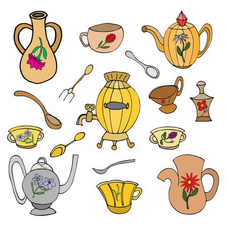 backing: Cooking & Backing flat doodle set icons, Kitchenware stylish design vector elements isolated Illustration