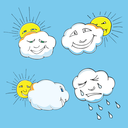 lamentation: Cute doodle of sky elements: sun, clouds. Vector illustration