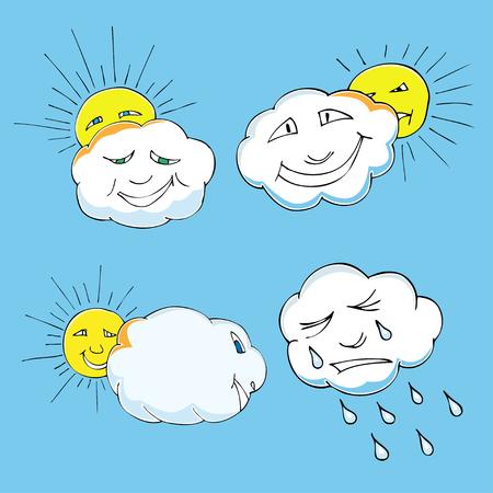 lamentation: Doodle carino di elementi del cielo: sole, nuvole. Illustrazione vettoriale