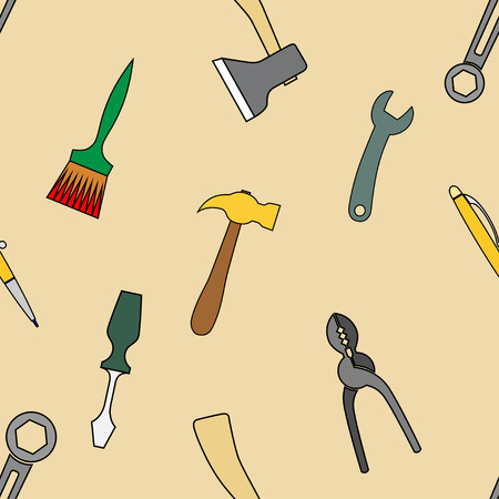 wire cutters: Background from working tools, hammers, brushes, axes, wrenches, wire cutters, pliers. Doodle hand drawing decor