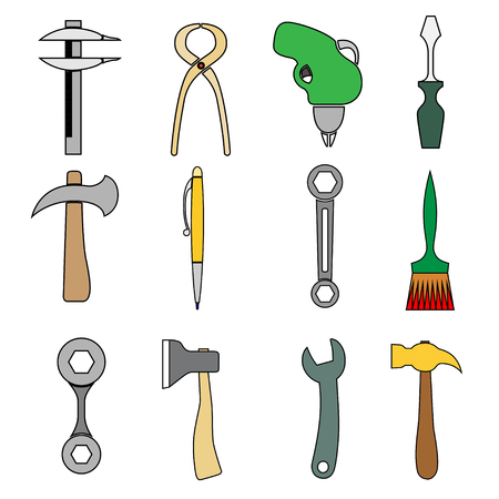Set of tools. Isolated on white. Vector illustration Vector