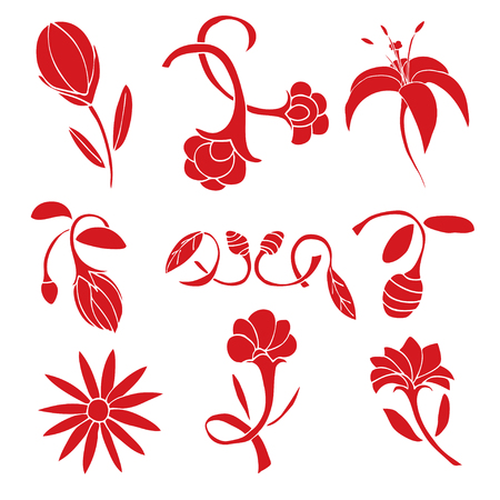 botanics: Set of red flower design elements