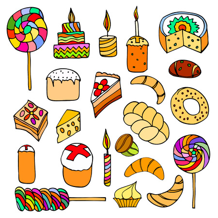fancy pastry: Set of sweets, hand-drawn, vector Doodle