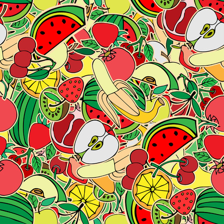 grocer: Seamless pattern with set of sweet fruits and berries. Apples, watermelon, grapes, bananas, kiwi, cherry. Food, fruit. Seamless texture. Doodle, cartoon drawing. Vector illustration