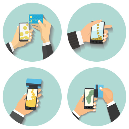 go to store: Flat design style vector illustration. Smartphone with processing of mobile payments. Communication technology concept. Isolated on green background Illustration