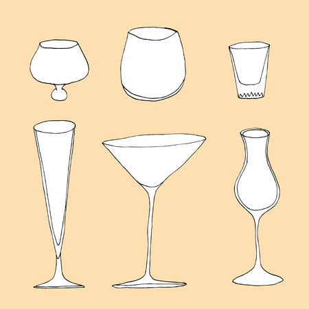 collins: Set of different glass , hand drawn illustration in sketch style. Illustration