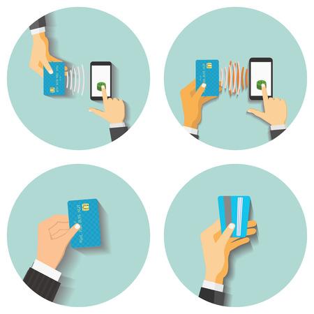 tecnologia comunicacion: Ilustraci�n vectorial de estilo Dise�o plano. Smartphone con el procesamiento de los pagos m�viles. Concepto de tecnolog�a de la comunicaci�n. Aislado en el fondo verde Vectores