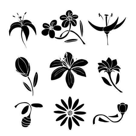 brie: Set of black flower design elements