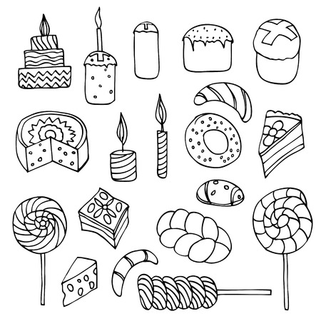 orthodoxy: Set of sweets, hand-drawn, vector Doodle