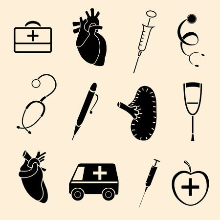 set flat human organs icons illustration concept. Vector background design Vector