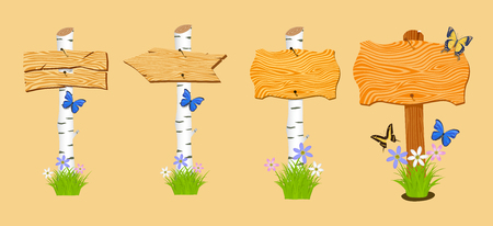 Set of Wooden arrow and signboard with flowers and butterflies. Vector illustration Vector
