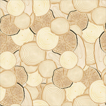 wallpaper rings: Tree rings saw cut tree trunk background. Seamless wallpaper. Vector