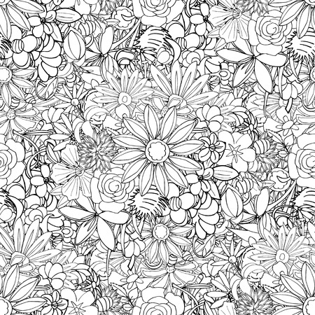 Floral seamless pattern background with leaves. Doodles ornament Illustration