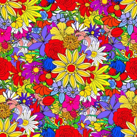 Floral seamless pattern background with leaves. Doodles ornament 矢量图像