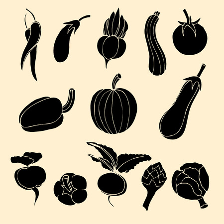 courgette: Vector Set of Vegetables Icons.