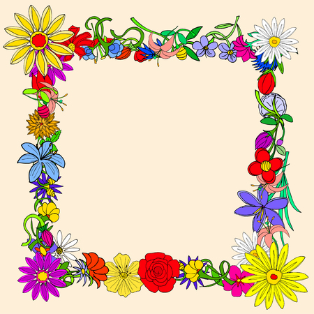 doodle frame: Doodle frame elements with flowers