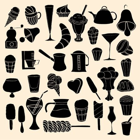 Set of sweets, hand-drawn, vector Doodle Vector
