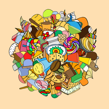 pone: Set of sweets, hand-drawn, vector Doodle