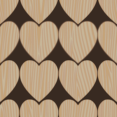 brittle: Seamless pattern. Wooden planks, parquet in the form of heart