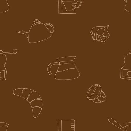 Breakfast  seamless doodle vector pattern hand drawn Vector