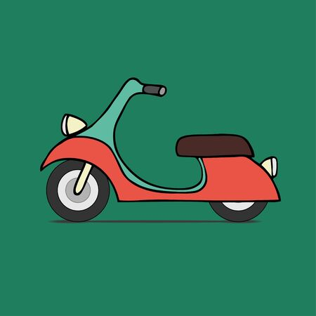 moped: Vector flat design scooter. Classic moped, side view, isolated Illustration