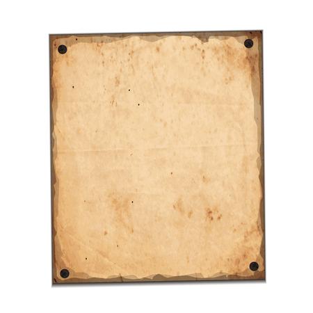 nailed: cartoon style blank paper sheet nailed vector
