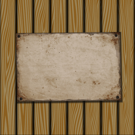 attached: Vector background. Old paper on wooden planks Illustration