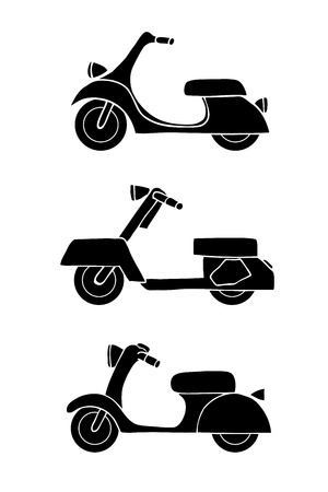 moped: Set of transport icons - scooter and moped, vector illustration Illustration