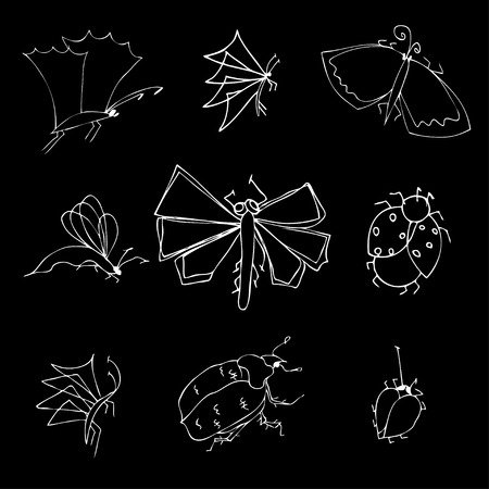 locust: insects doodle set. Vector illustration