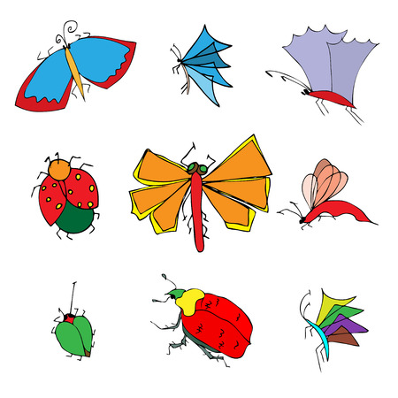 insects doodle set. vector illustration Vector