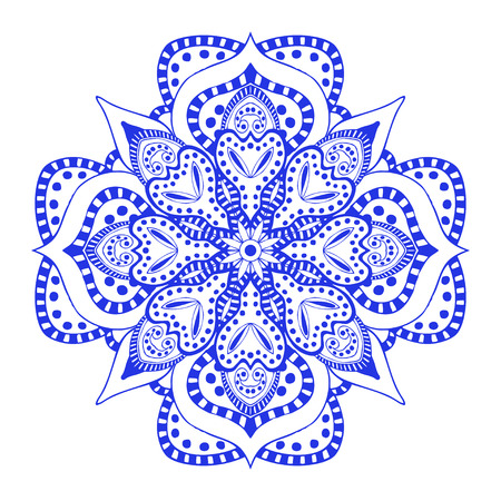 blue floral: Round blue floral ornament, isolated on white background. Vector illustration.