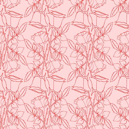 Seamless wallpaper pattern with of collection roses on design background, vector illustration Illustration