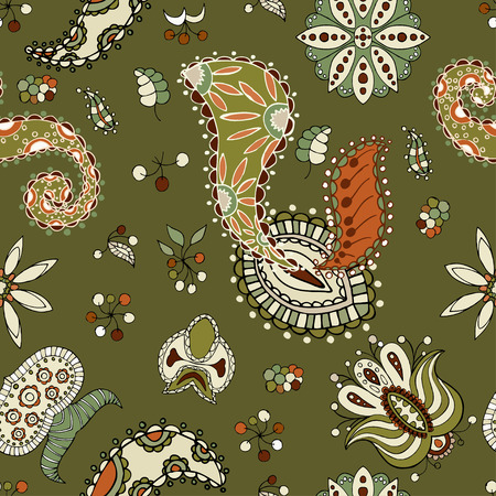 seamless pattern floral: Green Paisley seamless pattern. Floral background