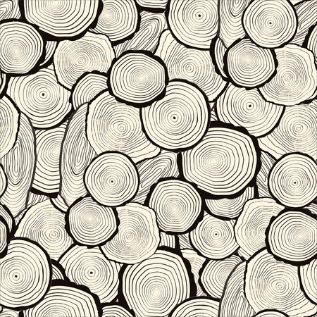 trädstam: Tree rings saw cut tree trunk background. Seamless wallpaper. Vector