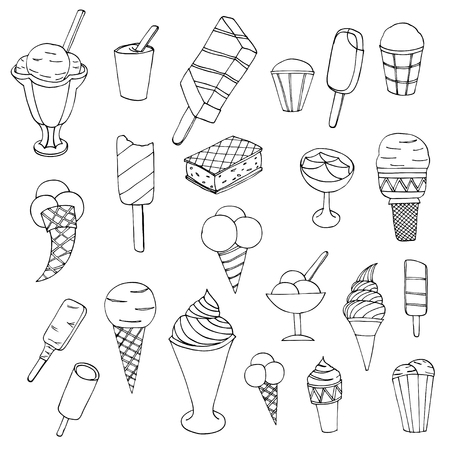 flavours: Collection of cute vector hand drawn cartoon ice cream. Cones and ice creams with different flavours made in doodle style.