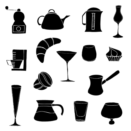 kitchen objects and foods, vector illustration, isolated on white Vector