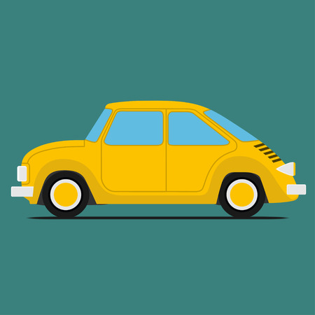 Yellow Sport car. Isolated on green background