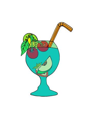 salumi affettati: Cocktail tropicale. Illustrazione vettoriale. Isolati su bianco Vettoriali