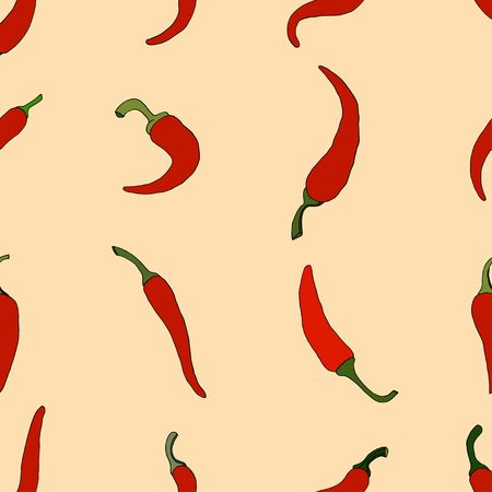 Chili Pepper. Seamless pattern background. Vector illustration Vector
