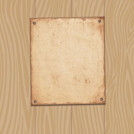 planks: Vector background. Old paper on wooden planks Illustration