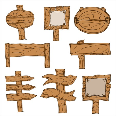 fascia: Set of Vector Wooden Signpos. Isolated on white