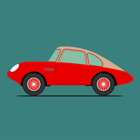 Red Sport car. Isolated on green background